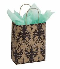 Paper Bags Cub Shopping 25 Damask Black Tan Gift 8 ¼� x 4 ¾� x 10 ½� Medium