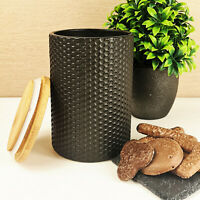 Black Geometric Canister Tea Pot Sugar Caddy Coffee Jar Kitchen Food Storage New