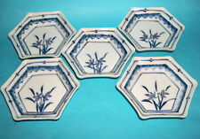 Chinese Art Pottery - Attractive Set Of Five Blue & White Small Hexagonal Dishes