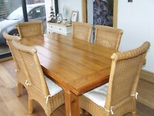 Reclaimed Pitch-Pine Table and 6 Wicker chairs
