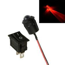 Grande 10 Mm Led Intermitente Rojo Auto Moto arrojar falsa falsa alarma + Interruptor 12v