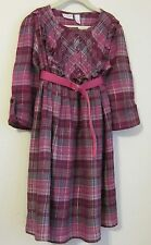Sonoma Girls size 6X  pink/purple plaid dress, long roll up sleeves cotton