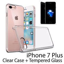 Premium Crystal Clear Hard Case Cover & Vetro Temperato Per iPhone 7 Plus