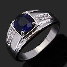Size 11 Jewelry Blue Sapphire 18K Gold Filled Bridal Wedding Women's Men's Ring