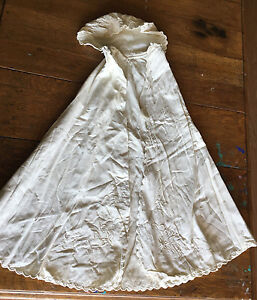 Antique Victorian Christening Cape Cloak Baby Child w Hood Embroidered Sweeping