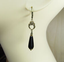 Ohrringe AGATHA elegant Vintage Stil Rokoko Glastropfen schwarz handmade Messing