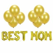 Mother's Day Gold BEST MOM Foil Balloon Bouquet (Pack of 15 pcs)