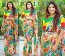New Floral Saree Sari Indian Printed Designer Wedding DIgital Print Party Wear