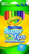Crayola 10 Count Washable Super Tip Markers Fine Tip Draw Thick or Thin Lines