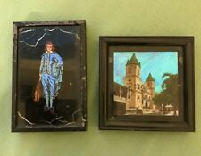 Vintage 2 Beautiful Small Pictures Made of Panama Butterfly Feathers