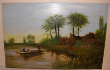 Antique Primitive folk art oil painting people flat boat landscape house scene