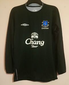 EVERTON FOOTBALL CLUB 2004 BLACK LONG SLEEVE GOALKEEPER SHIRT UMBRO M VGC BLUES