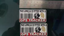 This APRILIA Is Fitted with a GPS Tracker Stickers Decal x2 Alarm Lock Antitheft