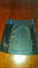 """Miss Me Sequin S small  Black mini  Skirt faux leather bling sparkle NWT W 28"""""""