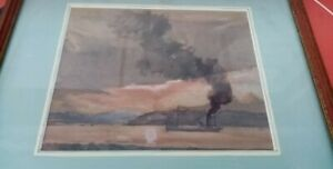 Antique watercolour signed Jasper Salwey F.R.S.A. c1948 POOLE HARBOUR freighter