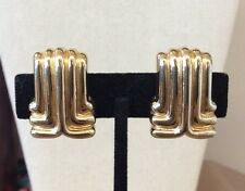 Fab!!! ST. JOHN Vintage Signed Goldtone Art Deco Style Design Clip-on Earrings