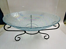 LARGE GLASS DISH ON STAND