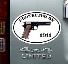 Protected By 1911 Bumper Sticker Vinyl Decal Pro NRA Pistol Firearm Gun Ammo .45