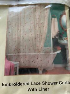 Embroidered Lace Shower Curtain