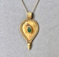 BELLA Romana Oro Massiccio Collana con ciondolo a goccia con vetro verde