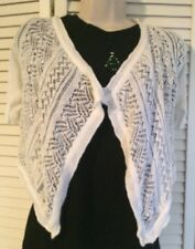 ARIZONA Womans Size S White Short Sleeve Open Weave Buttonless Shrug Sweater NEW