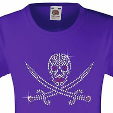"Girl's T-Shirt (12 Colour options) Rhinestone ""Skull & Sword"" 3-15 Yrs"