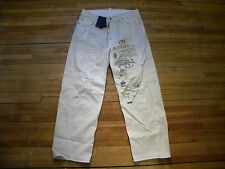 Dsquared² Runway Dirty DESTROYED Hockey Graphic Distressed Beige Jeans 46 30 Hot
