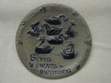 ROWE Pottery SEVEN SWANS A SWIMMING Twelve 12 Days of Christmas Plate SALT GLAZE