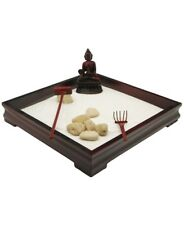 "Zen Garden With Medicine Buddha Wooden Tray Sand Rocks 2 rakes Included 9""x 9"""