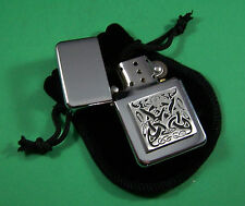 CELTIC HOUND DESIGN Petrol Lighter in Pouch Free UK Post  Scotland Ireland Wale