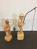 Folk Art Carvings Fishermen With Hook & Fish Carving Combine Shipping