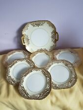 A Stunning Gold Encrusted Noritake Sandwich Plate & 6 Small Plates White & Cream
