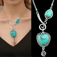 Vintage Women Turquoise Heart Stone Tibetan Silver Pendant Necklace Jewelry