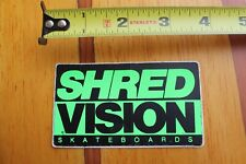 Shred Vision Skateboards Neon Green Logo Vintage 80's Skateboarding Sticker