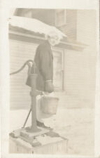 Baudette MN * Lady in Snow at Water Pump RPPC  ca. 1908 Lake of the Woods Co.