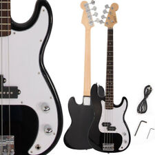 New Burning Fire 4 Strings Electric P Bass Guitar + Cord + Wrench Black