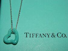 5944383e5 NIB Tiffany & Co Elsa Peretti Open Heart Carved Turquoise Sterling Pendant  ...