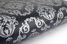 3m * Black & Silver Damask Pattern Sheet Contact Paper Self-adhesive Wallpaper