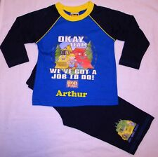 Personalised Bob the builder navy pyjamas 12 months - 4 years with a name