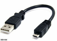 6 inch Extra-Short USB 2.0 A Male to Micro-B Male Cable, Black - USB-1500