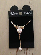 DISNEY DESIGNS MINNIE MOUSE FAUX PEARL GOLD PLATED NECKLACE NEW ON CARD!