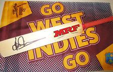 Brian Lara signed MRF mini cricket bat (full length auto)  + COA & Photo proof