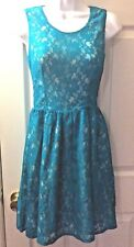 Women's New $168 FRENCH CONNECTION Lizzie Lace Dress Teal Cocktail Sz 0 UK 4