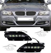 FRONT RUNNING LED LIGHTS BLACK FOR BMW E90 E91 LCI 08-12 FOG GRILL DAYLIGHT