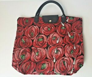 Bright Bold Red Rose Floral Fabric Large Shopper Boho Hippy Tote Handbag Bag