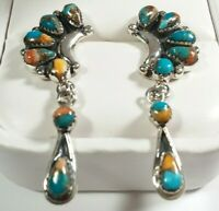 "925 STERLING CLUSTER & DANGLE SPINY OYSTER & TURQUOISE 1 11/16"" POST EARRINGS"