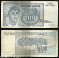 "RARE 1992 ""YUGOSLAVIA BANK NOTE"" CURRENCY ""100 DINARA"" P# 112"
