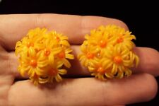 vintage 3D two tone orange daisy flower bouquet round circle clip on earrings