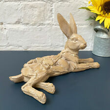 Driftwood Carved Lying Hare Rabbit Animal Wood Effect Home Resin Ornament Gift