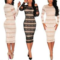 Sexy Womens Ladies Cockital Midi Lace Party Evening Bodycon Pencil Celeb Dresses